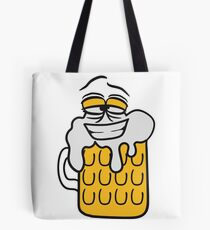 cool funny face alive comic cartoon thirst logo beer pitcher drinking drinking party celebrate drinking alcohol symbol cool shirt oktoberfest Tote Bag