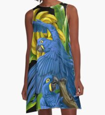 Hyacinth Macaws and Bananas Stravaganza (black background) A-Line Dress