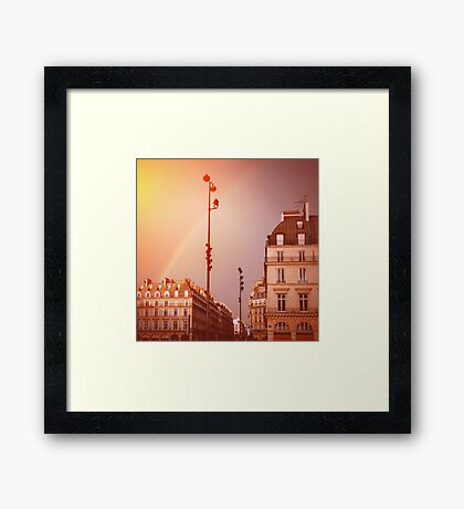 Paris Street View with Rainbow in the Sky After Rain Framed Print