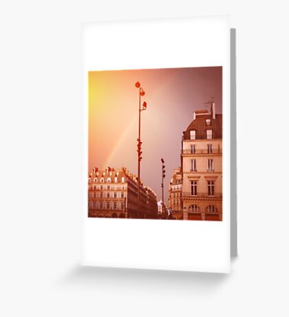 Paris Street View with Rainbow in the Sky After Rain Greeting Card
