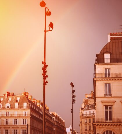 Paris Street View with Rainbow in the Sky After Rain Sticker