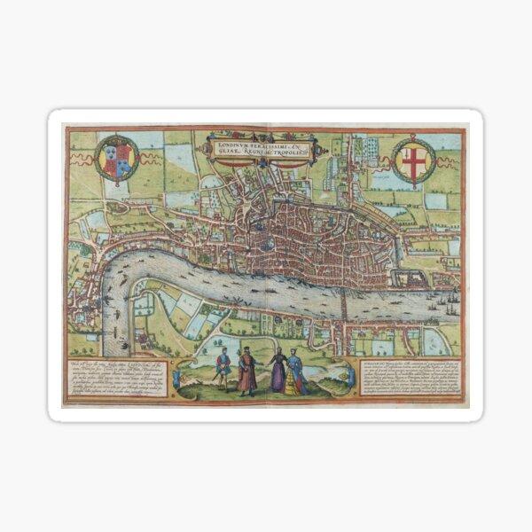 Map - London, 1572, Braun and Hogenberg Sticker