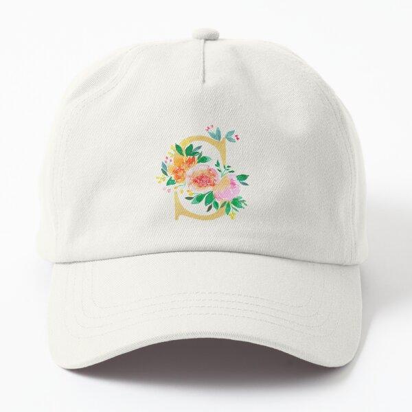 Golden Letter S and watercolor floral illustration    Dad Hat