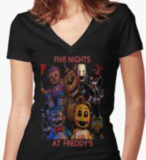 Camiseta entallada de cuello en V FNAF 2 animatronics