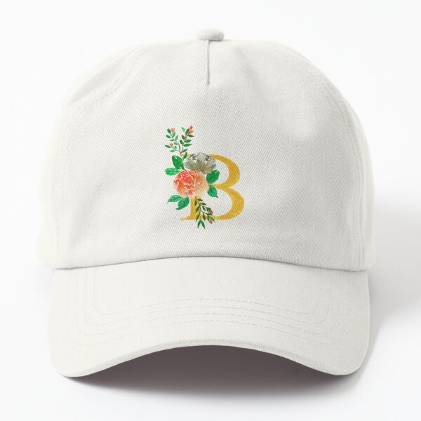 Golden Letter B and watercolor floral illustration    Dad Hat
