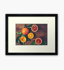 Still Life with Ripe Juicy Citrus Fruits Framed Print