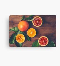 Still Life with Ripe Juicy Citrus Fruits Canvas Print
