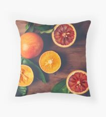 Still Life with Ripe Juicy Citrus Fruits Throw Pillow