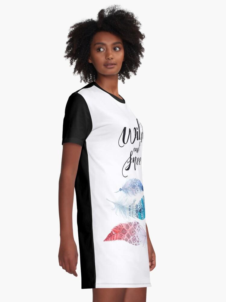 Vista alternativa de Vestido camiseta Feathers, Wild and free