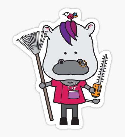 Hank the Hairdresser Hippopotamus Sticker