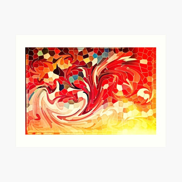 Abstract Stained Glass Battling Firebirds in Fiery Red Orange Yellow Art Print