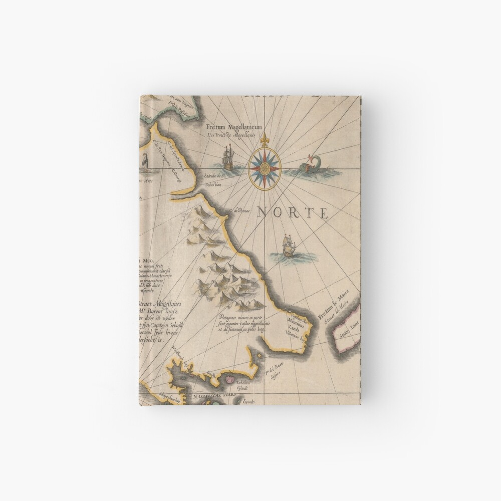 Old map 4 Hardcover Journal