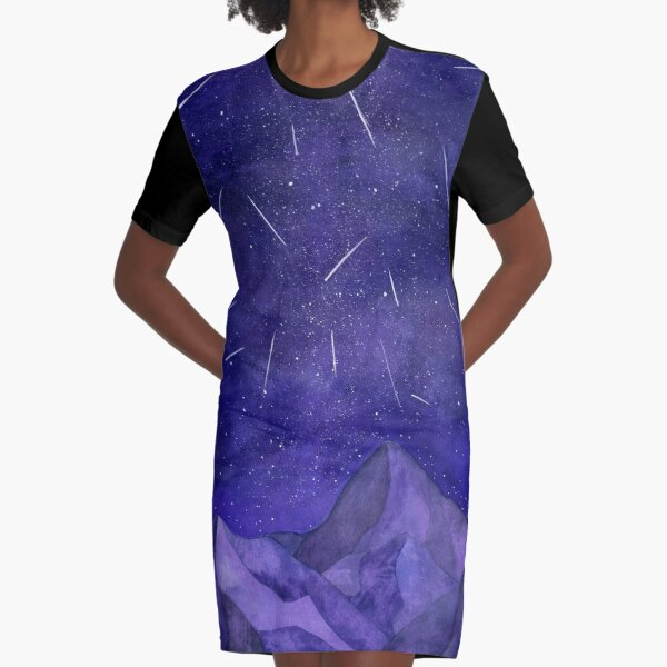 The Perseids, watercolor meteor shower Graphic T-Shirt Dress