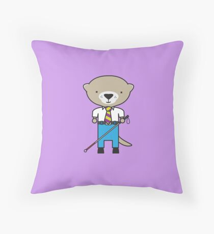 Oliver the Optometrist Otter Throw Pillow