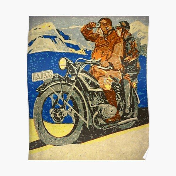 MOTORRAD IN DEN BERGEN Poster
