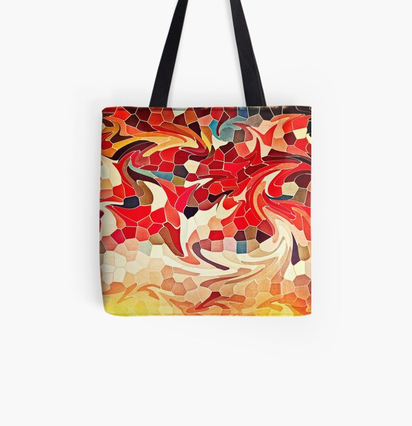 Abstract Stained Glass Battling Firebirds in Fiery Red Orange Yellow 2 All Over Print Tote Bag
