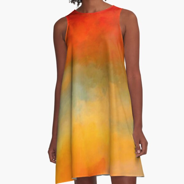 Sunset Colors Abstract Painting Ladies Scarf A-Line Dress
