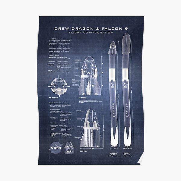 NASA SpaceX Crew Dragon Spacecraft & Falcon 9 Rocket Blueprint in High Resolution (dark blue) Poster