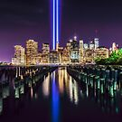 New York skyline with 911 memorial towers by Colin White