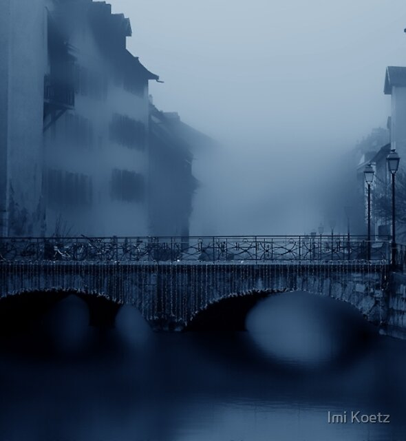 Annecy with Christmas Decorations in Fog by Imi Koetz