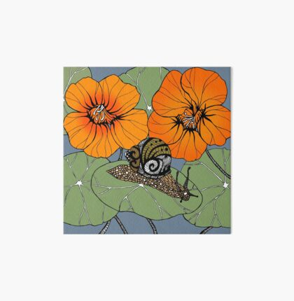 Snail with Nasturtiums Art Board