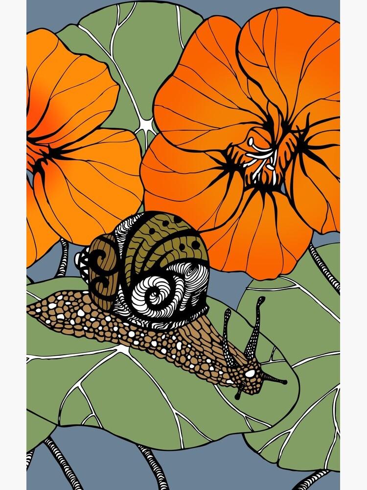 Snail with Nasturtiums by erikathorpe