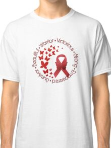 Red Awareness Ribbon with Butterfly Classic T-Shirt