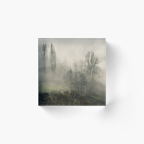 A misty autumn morning Acrylic Block