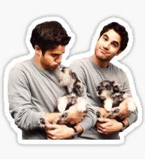 Darren Criss holding a puppy Sticker