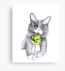 Cat With Lollipop. Watercolor Art Print Canvas Print
