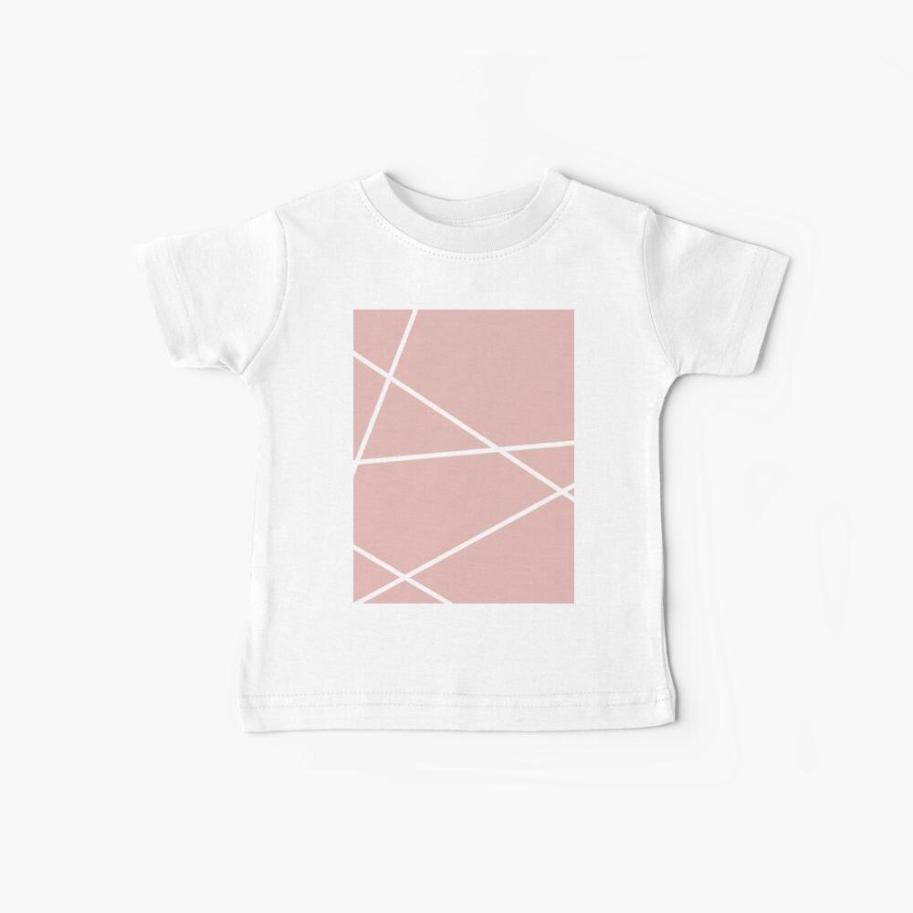 minimale Chic Blush rosa weiße Linien rosa geometrisches Muster Baby T-Shirt