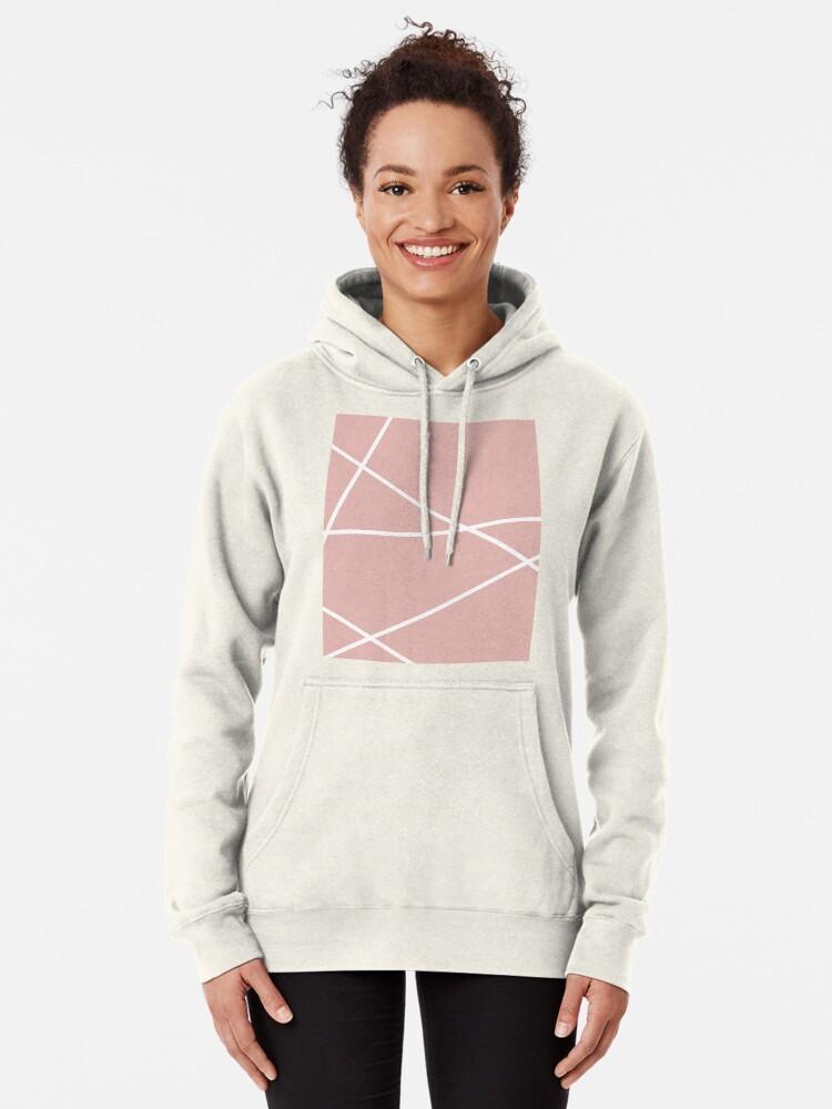 Alternative Ansicht von minimale Chic Blush rosa weiße Linien rosa geometrisches Muster Hoodie