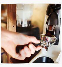 Coffee mill machine making espresso Poster
