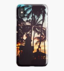 Tropical beach with palm trees iPhone Case/Skin