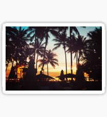 Tropical beach with palm trees Sticker