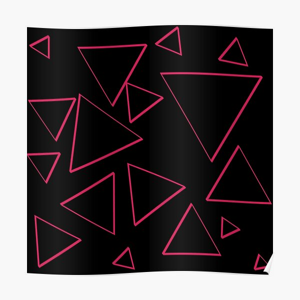 Funky Nineties Style Pink Triangle Pattern Poster