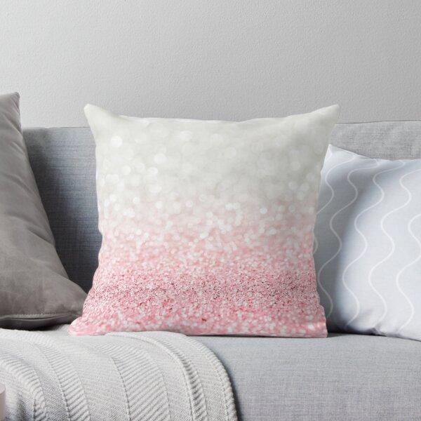 Pink Ombre Glitter Throw Pillow