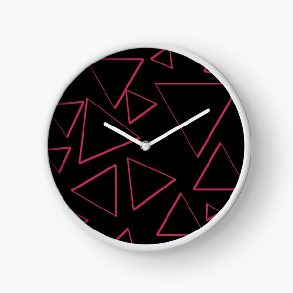 Funky Nineties Style Pink Triangle Pattern Clock