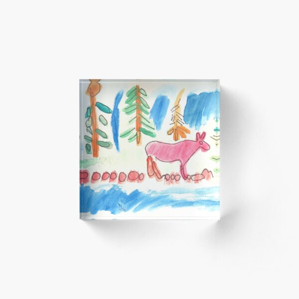 Forest With River and Wildlife Nature Painting Acrylic Block