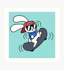Skateboard Bunny Art Print