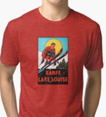 Banff Lake Louise Ski Vintage Travel Decal Tri-blend T-Shirt