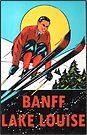 Banff Lake Louise Ski Vintage Travel Decal by hilda74