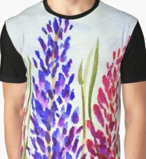 Watercolor Floral Art, Lupine Wildflowers Graphic T-Shirt