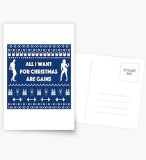 All I want for Christmas Are Gains Funny Workout Ugly Sweater Postcards