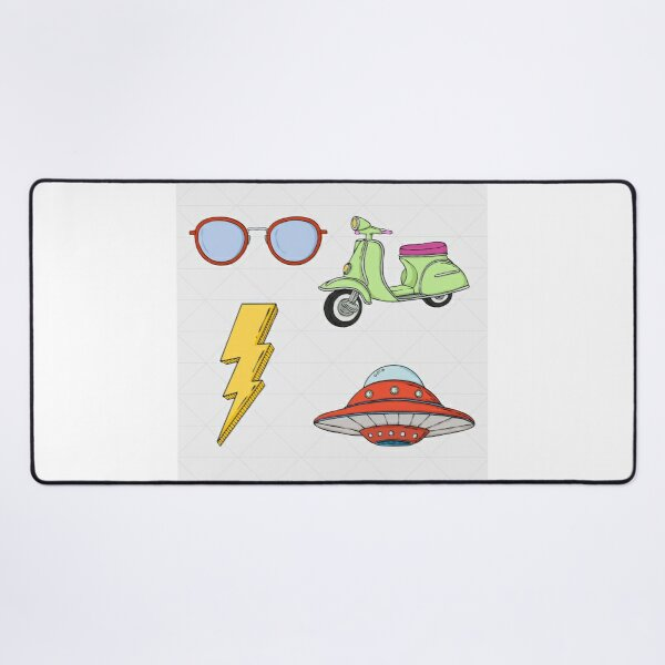 Funky retro objects set colorful and cool. Desk Mat