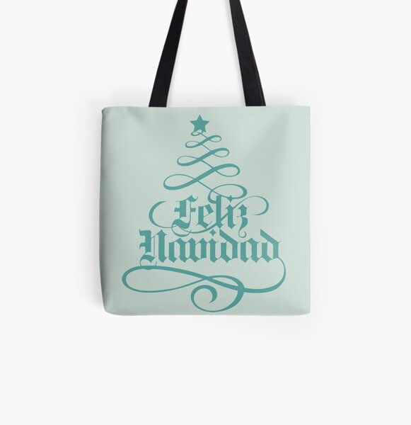 Feliz Navidad/Merry Christmas All Over Print Tote Bag