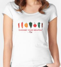 Choose Your Weapon Hot Peppers  Women's Fitted Scoop T-Shirt