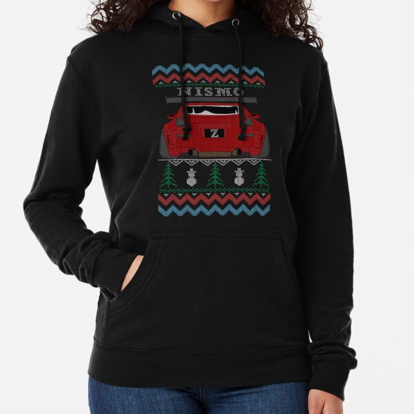 Ugly Sweater Christmas Nismo 350Z Z33 (Red) Lightweight Hoodie