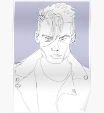 Johnny Depp Continuous Line Drawring  Poster
