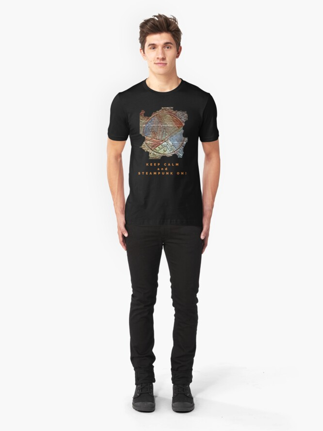 Alternate view of COOL STEAMPUNK ART KEEP CALM FUNNY QUOTE Slim Fit T-Shirt